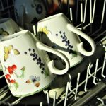 mugs with flowers in dishwasher